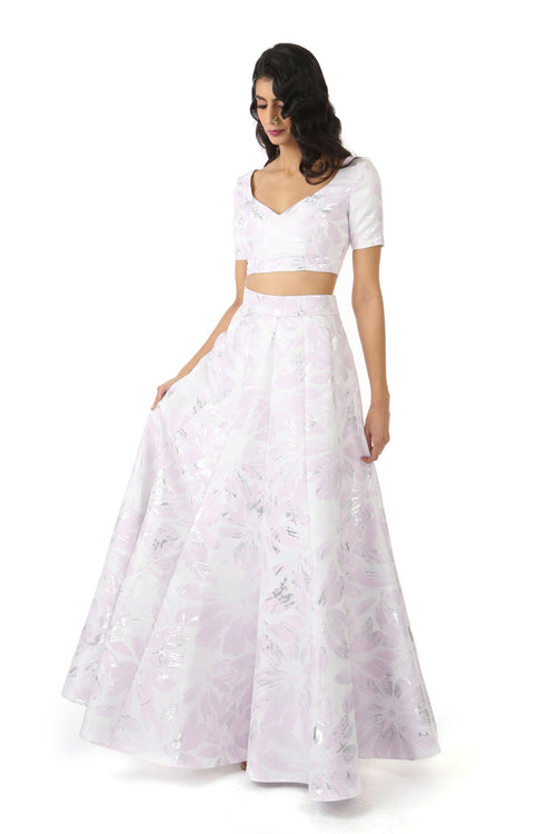 Harleen Kaur SANYA Short Sleeve Crop Top in Metallic Silver, White, and Lavender Jacquard with Sweetheart Neckline - Front View