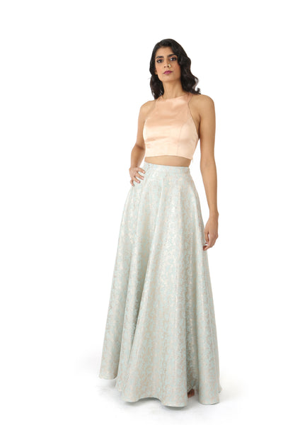 ANEELA Lehenga Skirt in Subtle Metallic Aqua Gold Floral Pattern - Front View | HARLEEN KAUR