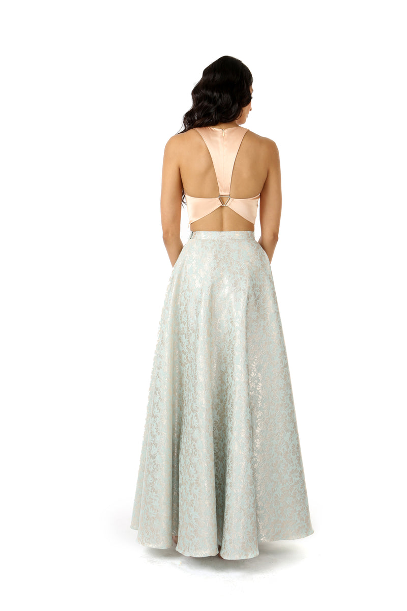 Harleen Kaur ANEELA Lehenga Skirt in Muted Metallic Aqua Gold Floral Pattern with VIDYA Crop Top in Satin Peach - Back View