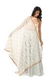 Harleen Kaur Lorella White Floral Embroidered Dupatta with Gold/Copper/Silver Trim
