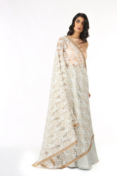 Harleen Kaur LORELLA White Floral Embroidered Dupatta with Gold/Copper Trim