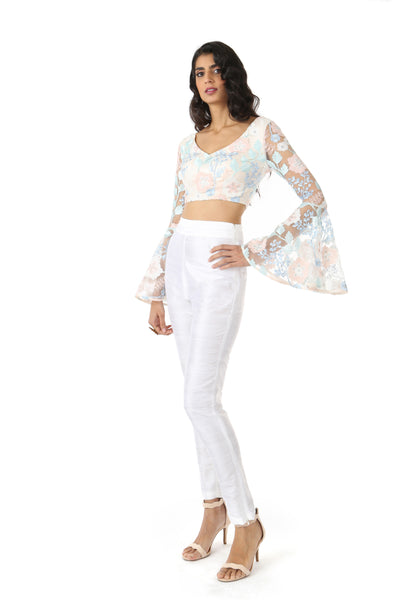 NOOP White Silk Pant with ROSE Top | HARLEEN KAUR