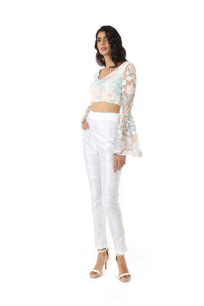 ROSE frosted floral embroidered lace crop top with flared bell sleeves | HARLEEN KAUR