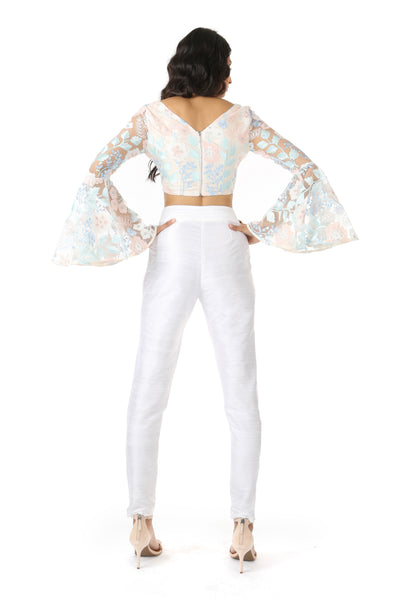 NOOP White Silk Pants with ROSE Top | HARLEEN KAUR