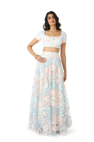 Frosted Floral Stretch Embroidered Crop Top | HARLEEN KAUR