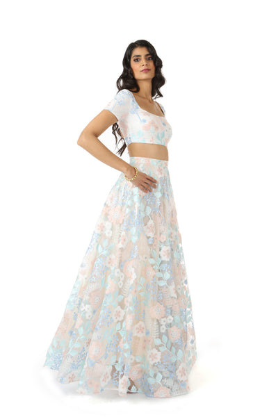 RIVA frosted floral stretch embroidered crop top | HARLEEN KAUR