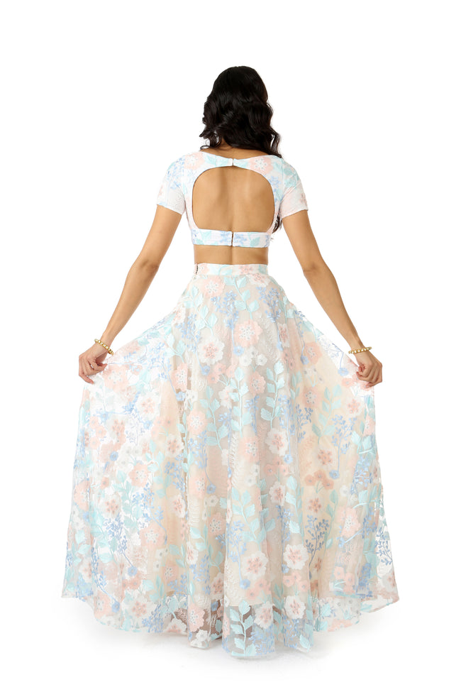 RIVA frosted floral stretch embroidered crop top with open back | HARLEEN KAUR