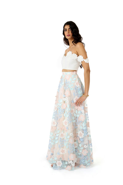 White Lehenga Top with Off-the-Shoulder White Floral Trim