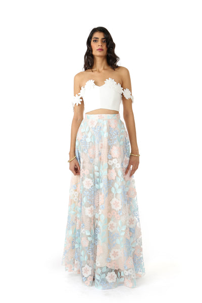 White Lehenga Top with Off-the-Shoulder White Floral Trim - Front View - Harleen Kaur - South Asian Womenswear