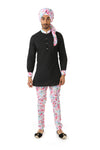 Harleen Kaur SUMEET Long Sleeve Black Kurta with White Multifloral Print Collar and Cuff - Front View