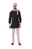 Harleen Kaur Mens Jag Pants in White Multi Floral Print Cotton - Front View