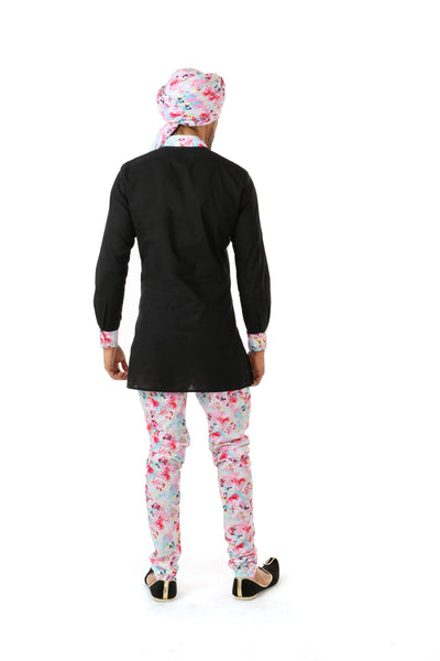 Harleen Kaur SUMEET Black Kurta with Multifloral Print Collar and Cuff - Back View