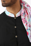 Harleen Kaur SUMEET Black Cotton Kurta with White Multifloral Print Collar - Front View