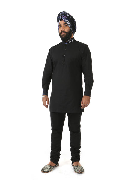 Harleen Kaur SUMEET Black Kurta with Black Multifloral Print Collar and Cuff - Front View