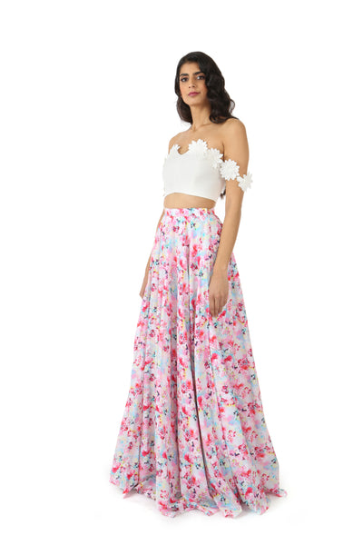 ANISHA Cotton Lehenga Skirt with White/Pink Floral Print - Side View | HARLEEN KAUR