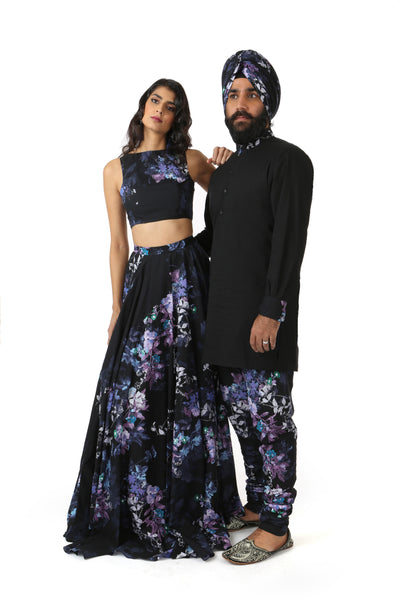 Harleen Kaur Azya Cotton Floral Print Lehenga Top in Black Multi - Front View