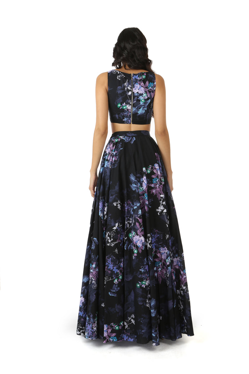 Harleen Kaur Azya Cotton Floral Print Top in Black Multi - Back View