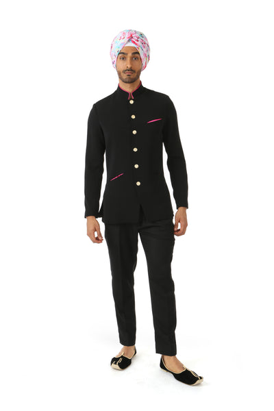 Harleen Kaur NAHM Mens Black Jodhpuri Jacket with Fuchsia Satin Lining - Front View