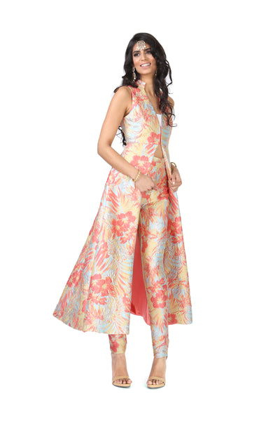 CHANDRA Floral Palm Jacket Dress - Front View | HARLEEN KAUR