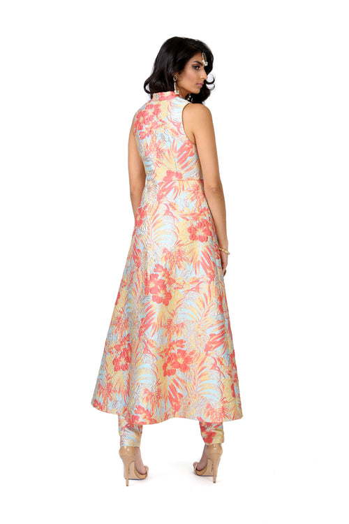 CHANDRA Floral Palm Jacket Dress - Back View | HARLEEN KAUR