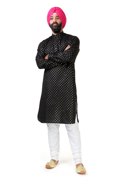 RANJA Tunic in Black and Gold Polkadot Cotton - Front View - Harleen Kaur - South Asian Menswear