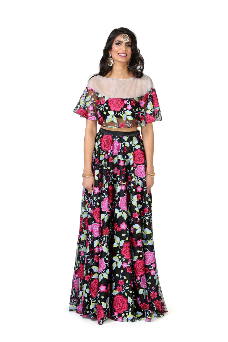Black and Pink Embroidered Floral Floor Length Lehenga Skirt - Front View - Harleen Kaur - Ethically Made Womenswear