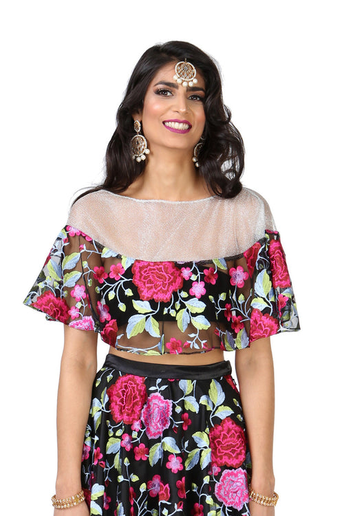 VANESSA Floral Embroidered Lace Cape Top | HARLEEN KAUR