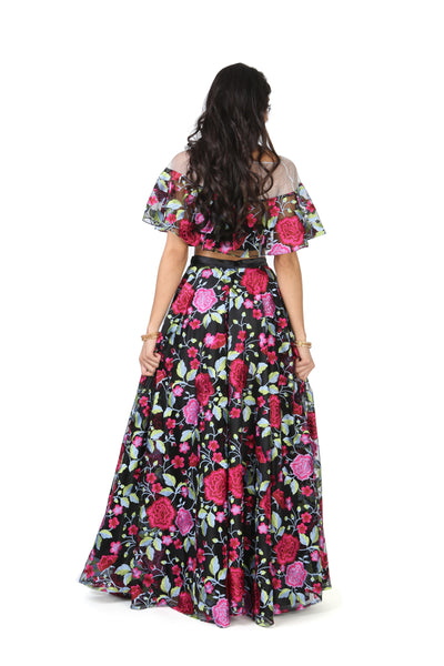 Black and Pink Embroidered Floral Floor Length Lehenga Skirt - Back View