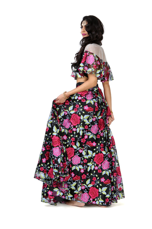 Black and Pink Embroidered Floral Floor Length Lehenga Skirt - Front View