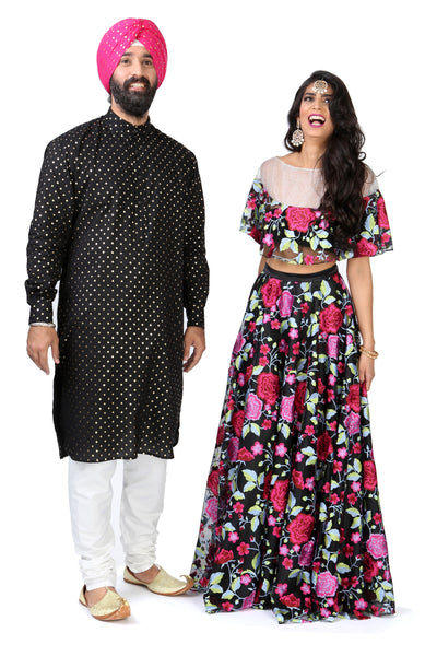 Black and Pink Embroidered Floral Floor Length Lehenga Skirt - Couple View
