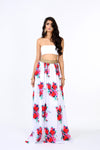 TANVI Red and White Floral Matte Satin Lehenga Skirt with Metallic Elastic Trim | HARLEEN KAUR