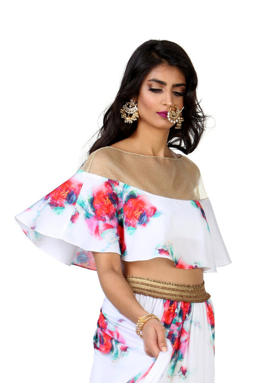 Harleen Kaur Vanessa Satin Capelet with Floral Painted Print