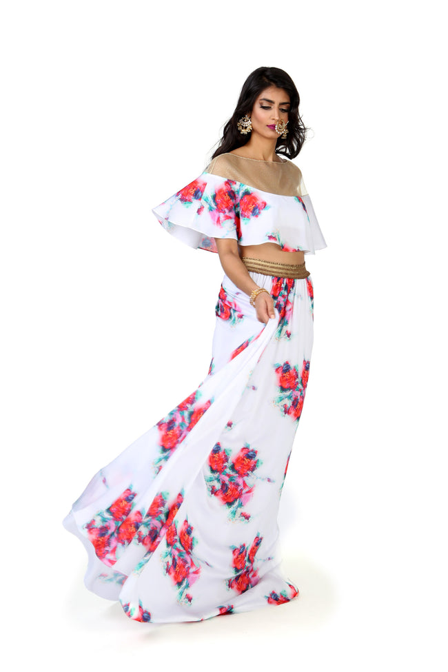 Harleen Kaur Vanessa Satin Capelet with Floral Print