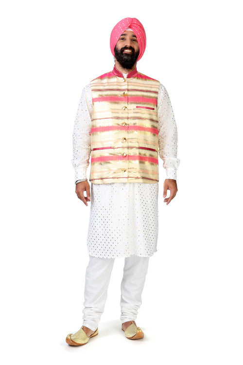 MIRZA Metallic Gold and Pink Striped Vest - Harleen Kaur Indian Menswear