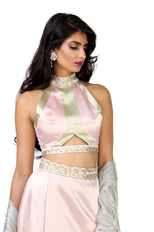 SELINA Satin Top with Cutout - Front View - Harleen Kaur Womenswear - Sample Sale