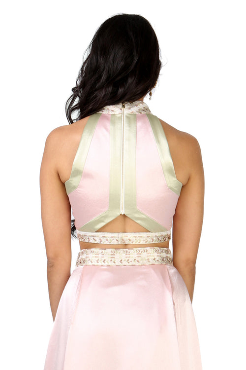 SELINA Colorblock Satin Top - Back View - Harleen Kaur Womenswear - Sample Sale