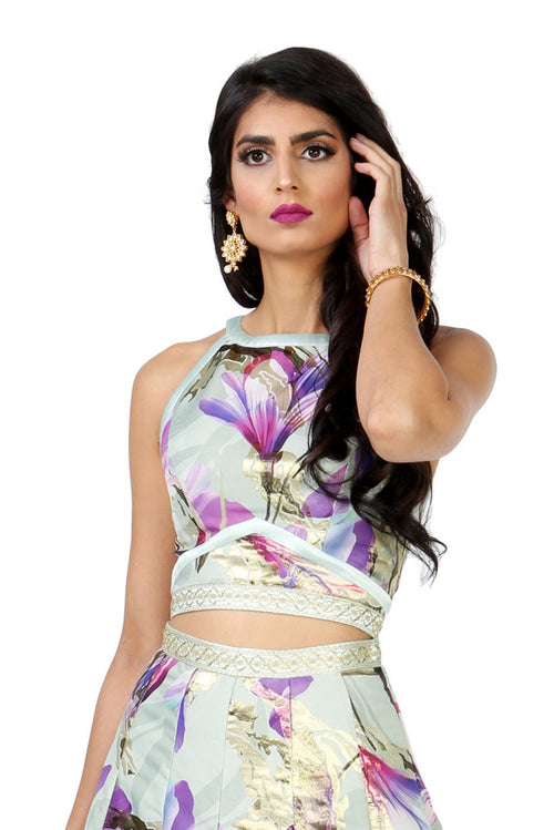 Harleen Kaur Julieta Tulip Jacquard Sleeveless Crop Top - Front View