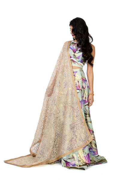Harleen Kaur Daiya Tulip Jacquard Skirt with Metallic Gold Accents - Front View