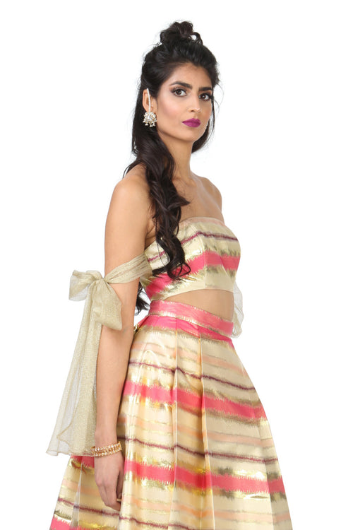 Harleen Kaur Myra Striped Gold Jacquard Strapless Top - Side View