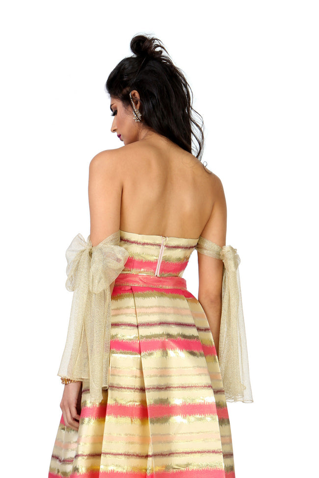 Harleen Kaur Myra Striped Gold Jacquard Top with Gold Bow Arm Cuffs - Back View