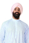 MAHARAJA Light Pink Cotton Pagh with Gold Polkadots | HARLEEN KAUR