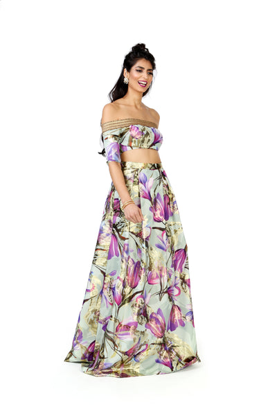 Tulip Jacquard with Metallic Gold Accents Lehenga Skirt | HARLEEN KAUR