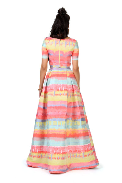 Multicolor Paint Jacquard Lehenga Skirt
