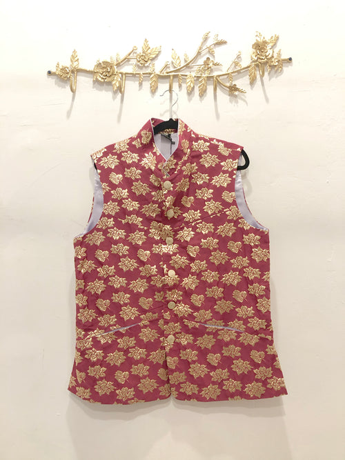 APA Berry and Gold Vest - Front View - Harleen Kaur Menswear - Sample Sale