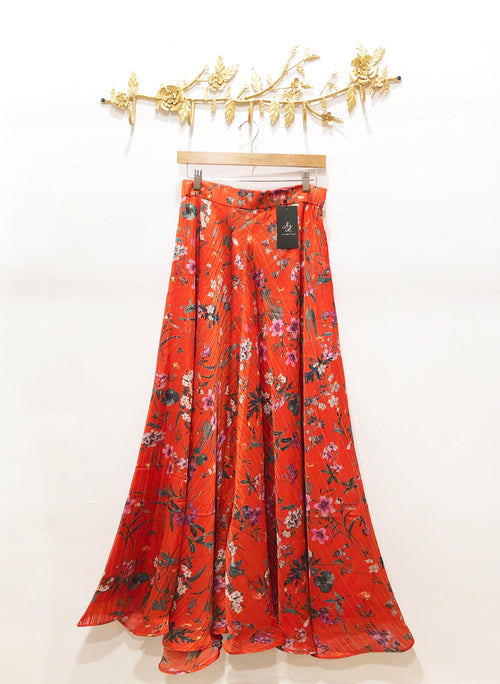HILA Red Metallic Satin Skirt - Front View - Harleen Kaur Womenswear - Sample Sale