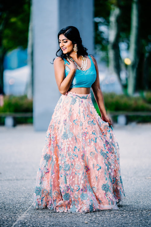 BIJAL Peach and Light Blue Lehenga Skirt - Front View - Harleen Kaur- Womenswear