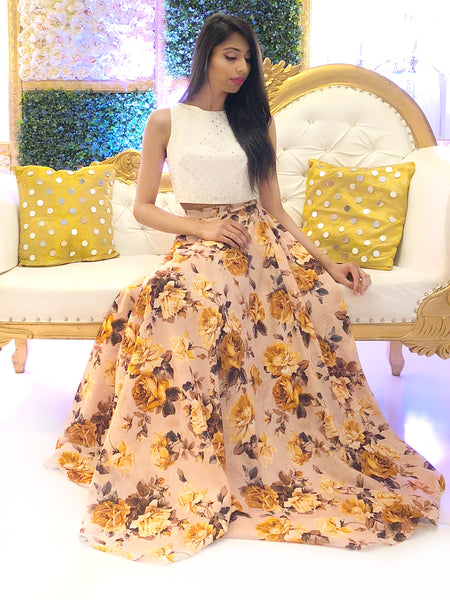 Harleen Kaur Nika Yellow Rose Lehenga Skirt - Front View