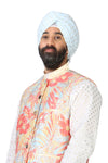 MAHARAJA Light Blue Cotton Pagh with Gold Polkadots | HARLEEN KAUR