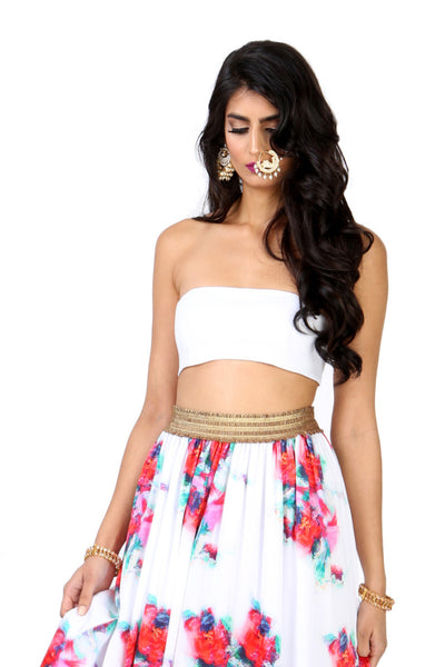 MAYA White Stretch Bandeau Top | HARLEEN KAUR