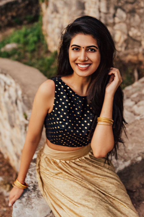 Harleen Kaur ANYA Black Cotton Crop Top with Gold Polkadots